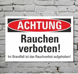 Schild Achtung Rauchen verboten Hinweisschild Verbotsschild 3 mm Alu-Verbund