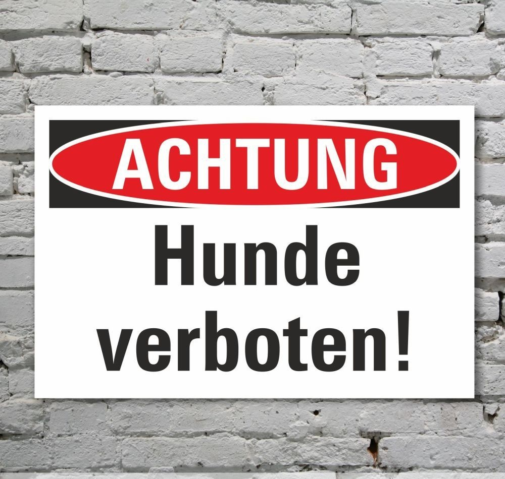 schild achtung hunde verboten verbotsschild 3 mm alu verbund 7 49. Black Bedroom Furniture Sets. Home Design Ideas