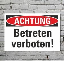 Schild Achtung Betreten verboten Verbotsschild Parkverbot...