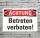Schild Achtung Betreten verboten Verbotsschild Parkverbot 3 mm Alu-Verbund