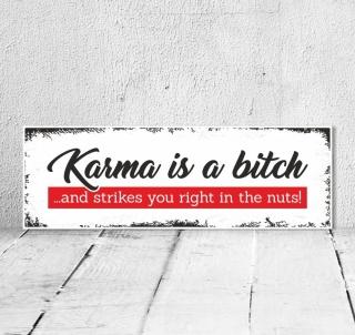 Vintage Shabby Holzschild Karma is a bitch Spruch Geschenk Geburtstag