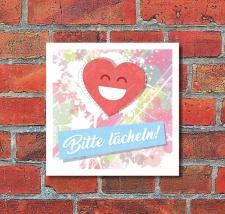 Schild Bitte lächeln Smiley Herz Geschenk...
