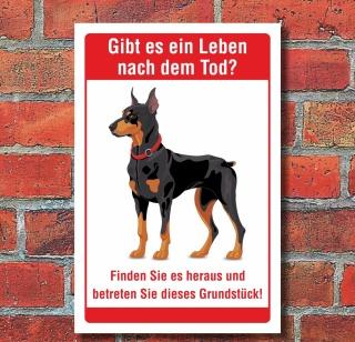 Schild Leben nach dem Tod Betreten verboten Freilaufender Hund 3 mm Alu-Verbund
