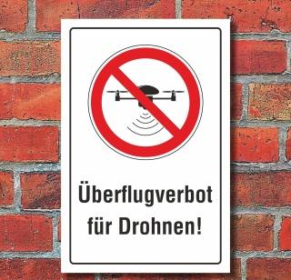 Schild Überflugverbot Drohnen Überflug verboten Quadrocopter 3 mm Alu-Verbund