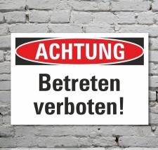 Schild Achtung Betreten verboten Verbotsschild...
