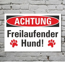 Schild Achtung Freilaufender Hund Symbol Hinweisschild 3...