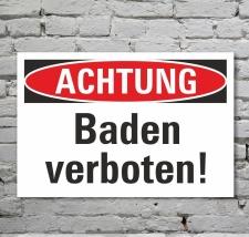 Schild Achtung Schwimmen Baden verboten Hinweisschild 3...
