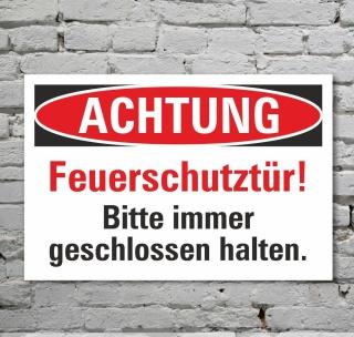 Schild Achtung Feuerschutztür geschlossen halten Hinweisschild 3 mm Alu-Verbund