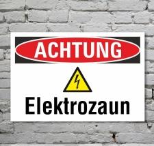 Schild Achtung Elektrozaun Strom Gefahrschild...