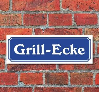 """Schild im Straßenschild-Design """"Grill-Ecke"""" 30 x10 cm Alu-Verbund"""