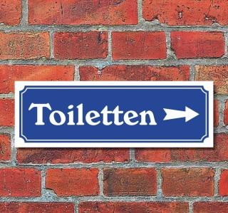 """Schild im Straßenschild-Design """"Toiletten rechts"""" 30 x10 cm Alu-Verbund"""