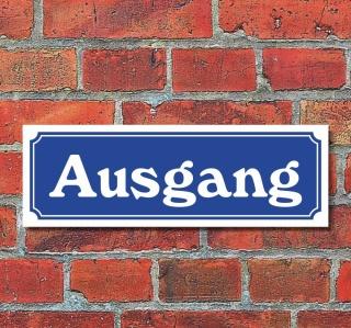 """Schild im Straßenschild-Design """"Ausgang"""" 30 x10 cm Alu-Verbund"""