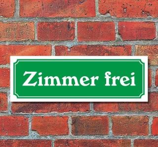 """Schild im Straßenschild-Design """"Zimmer frei"""" 30 x10 cm Alu-Verbund"""