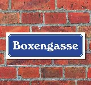"""Schild im Straßenschild-Design """"Boxengasse"""" 30 x10 cm Alu-Verbund"""
