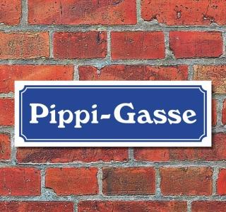 """Schild im Straßenschild-Design """"Pippi-Gasse"""" 30 x10 cm Alu-Verbund"""