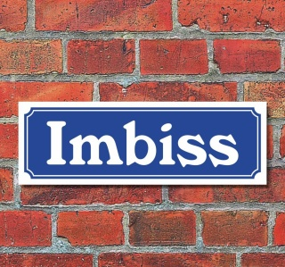 """Schild im Straßenschild-Design """"Imbiss"""" 30 x10 cm Alu-Verbund"""