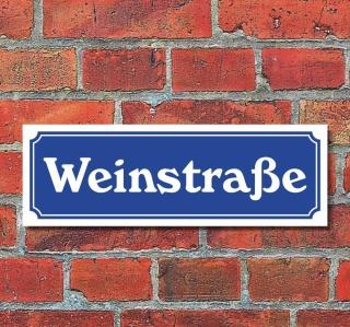 """Schild im Straßenschild-Design """"Weinstraße"""" 30 x10 cm Alu-Verbund"""
