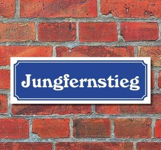 """Schild im Straßenschild-Design """"Jungfernstieg"""" 30 x10 cm Alu-Verbund"""