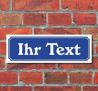 """Schild im Straßenschild-Design """"Ihr Text"""" 30 x10 cm Alu-Verbund"""