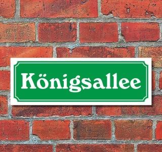 """Schild im Straßenschild-Design """"Königsallee"""" 30 x10 cm Alu-Verbund"""