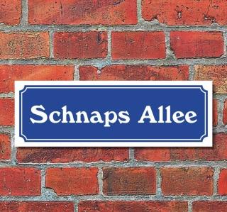 """Schild im Straßenschild-Design """"Schnapsallee"""" 30 x10 cm Alu-Verbund"""