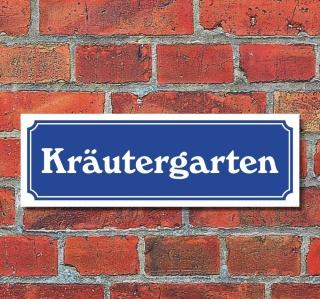 """Schild im Straßenschild-Design """"Kräutergarten"""" 30 x10 cm Alu-Verbund"""