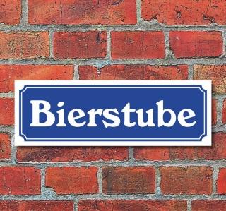 """Schild im Straßenschild-Design """"Bierstube"""" 30 x10 cm Alu-Verbund"""