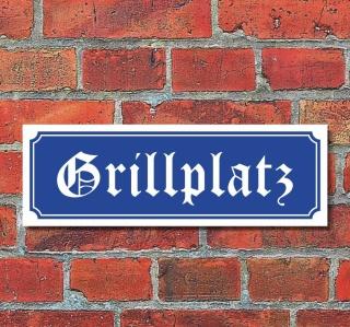 """Schild im Straßenschild-Design """"Grillplatz"""" 30 x10 cm Alu-Verbund"""