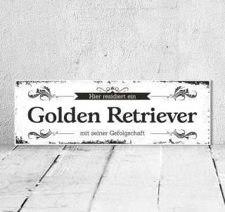 Schild Vintage Shabby Geschenk Holzschild Hundeschild Golden Retriever Türschild