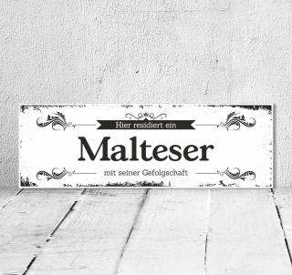 Schild Vintage Shabby Geschenk Holzschild Hundeschild Malteser Türschild