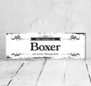 Schild Vintage Shabby Geschenk Holzschild Hundeschild Boxer Türschild