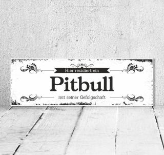 Schild Vintage Shabby Geschenk Holzschild Hundeschild Pitbull Türschild