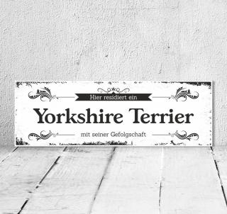 Schild Vintage Shabby Geschenk Holzschild Hundeschild Yorkshire Terrier Türschild
