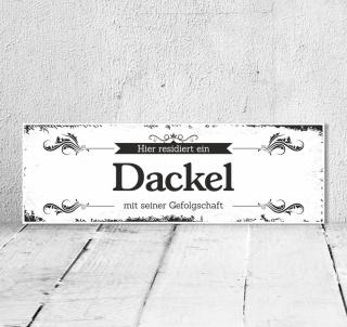 Schild Vintage Shabby Geschenk Holzschild Hundeschild Dackel Türschild