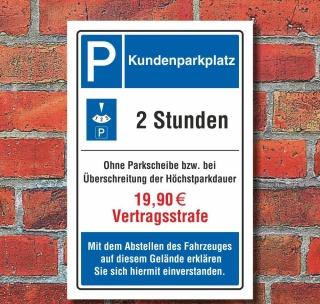 Schild Kundenparkplatz Privatparkplatz Strafe Strafzahlung 3 mm Alu-Verbund