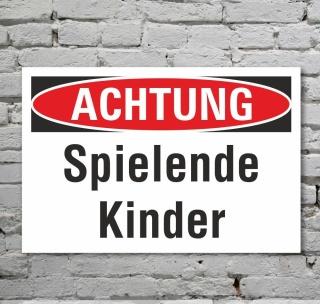 Schild Achtung Spielende Kinder Verbotsschild Hinweisschild 3 mm Alu-Verbund