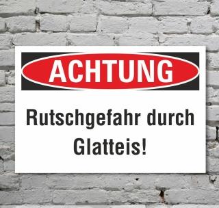Schild Achtung Rutschgefahr Schnee Glatteis Hinweisschild 3 mm Alu-Verbund