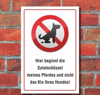 Schild Kein Hundeklo Hundekot Wiese Weide Salatschüssel Pferd 3 mm Alu-Verbund