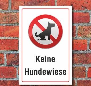 Schild Keine Hundewiese Hundeklo Hundekot Wiese Hundehaufen 3 mm Alu-Verbund 300 x 200 mm