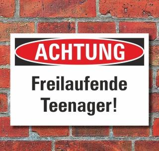 Schild Achtung Freilaufende Teenager Geschenk Geburtstag 3 mm Alu-Verbund