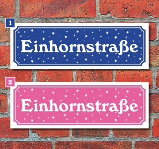Schild Einhornstraße Unicorn Deko Wandschild Geschenk Geburtstag - 30x10 cm