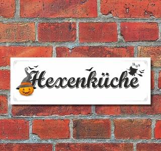 Schild Hexenküche Koch kochen Deko Geschenk Geburtstag - 30x10 cm Alu Verbund