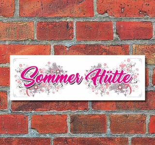 Schild Sommer Hütte Urlaub Wandschild Deko Geschenk Geburtstag - 30x10 cm