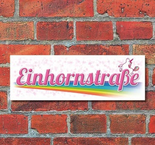 Schild Einhornstraße Unicorn Regenbogen Deko Geschenk Geburtstag 30x10 cm