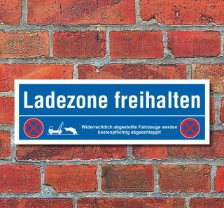 Schild Ladezone freihalten Parkverbot Halteverbot Parkplatzschild 30x10 cm