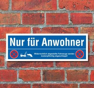 Schild Nur für Anwohner Parkverbot Halteverbot Parkplatzschild 30x10 cm