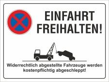 Schild Einfahrt freihalten Parkverbot Halteverbot 200 x...