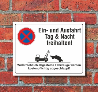 Schild Ein- und Ausfahrt freihalten Parkverbot 200 x 150 mm 3 mm Alu-Verbund