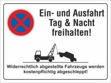 Schild Ein- und Ausfahrt freihalten Parkverbot 200 x 150...