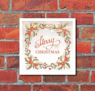 Schild Merry Christmas Weihnachten Feier Geburtstag Geschenk 200 x 200 mm